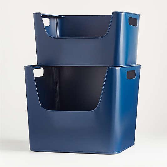 Large Dark Blue Metal Stacking Storage Bin