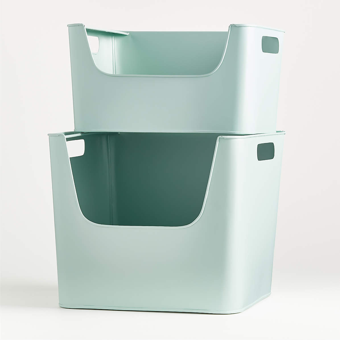 Large Mint Metal Stacking Storage Bin Reviews Crate And Barrel