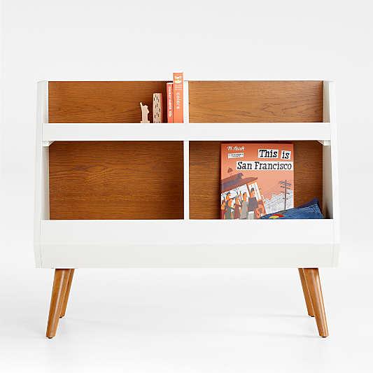 Walnut and White Mid-Century Bookcase