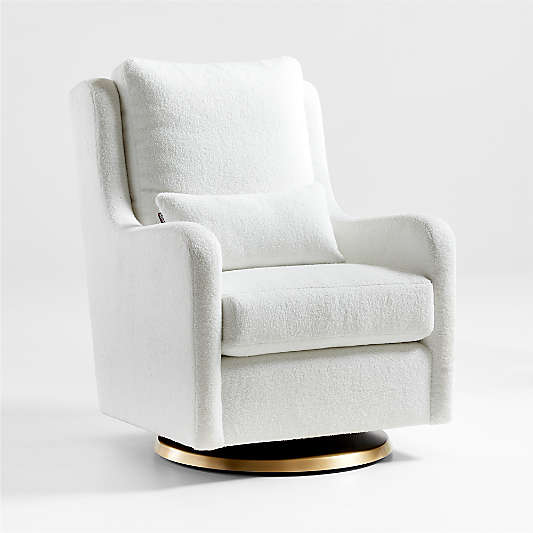 Milo Faux Sherpa Swivel Glider with Gold Base