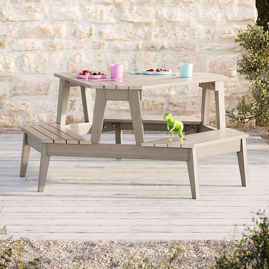 Grey Stain Modern Kids Picnic Table (Open Larger View)