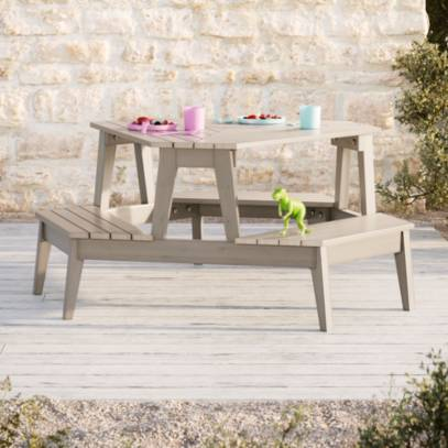 Grey Stain Modern Kids Picnic Table, Outdoor Kids Table