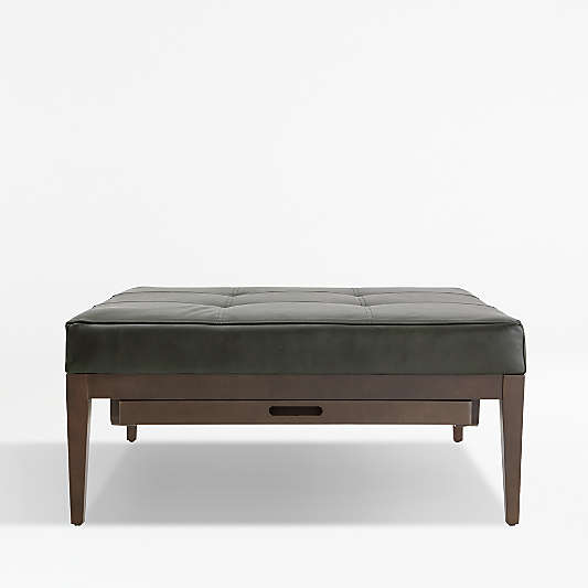 Nash Leather Tufted Square Ottoman with Tray