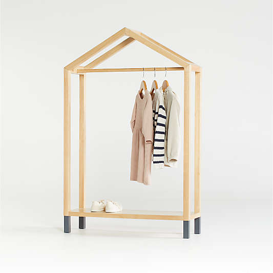 Natural and Black House Shaped Garment Rack