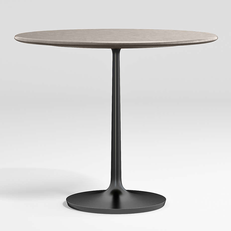 """Nero 36"""" Concrete Dining Table with Matte Black Base (Open Larger View)"""