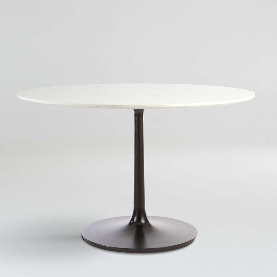 """Nero 48"""" White Marble Dining Table with Matte Black Base (Open Larger View)"""