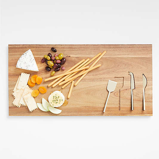 Octavia Wood Serving Board With Cheese Knives