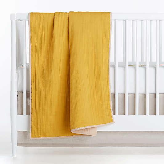 Yellow Organic Cotton Gauze Reversible Baby Crib Blanket