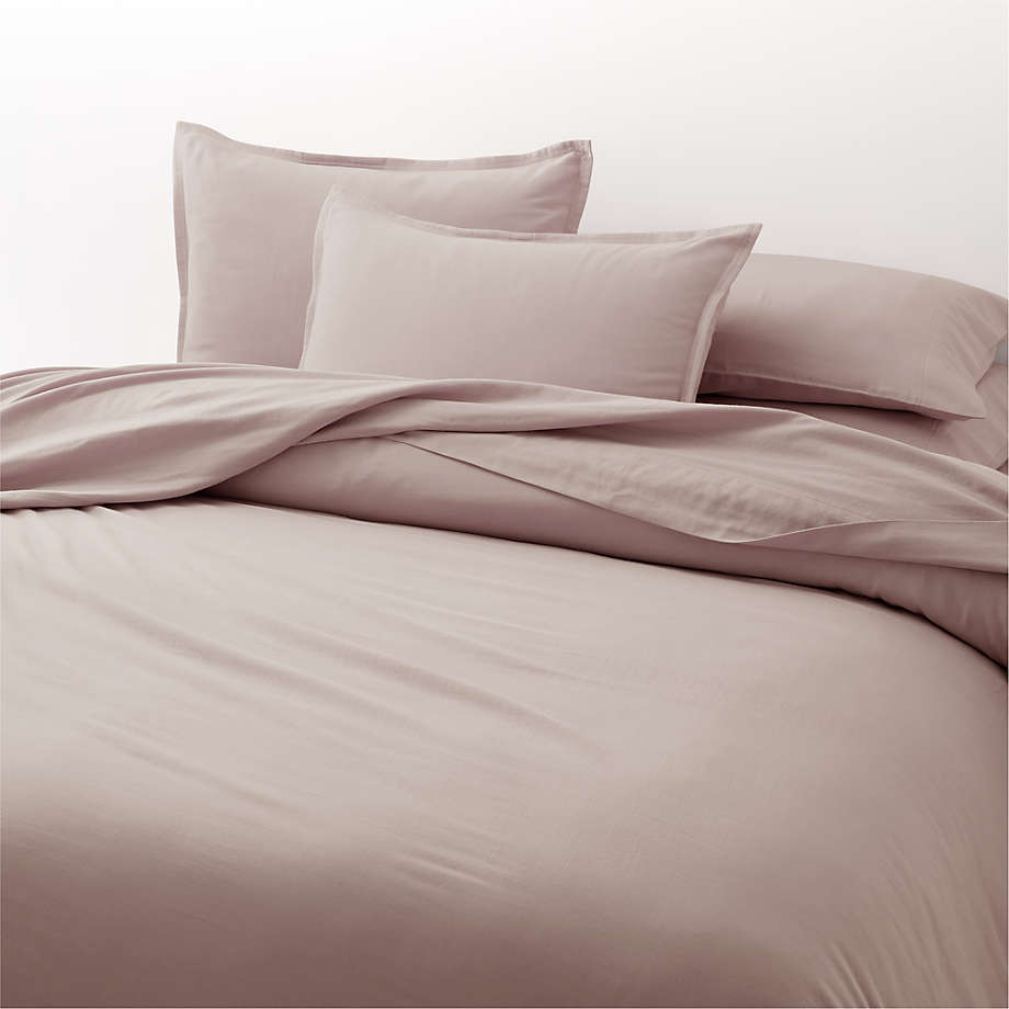 Organic Double Weave Haze Pink Duvets and Pillow Shams (Open Larger View)