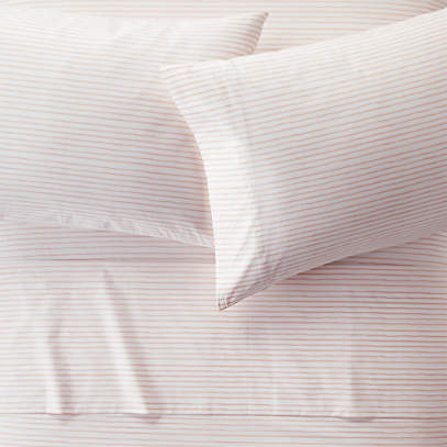Organic Pattern Play Pink Stripe Sheet, Organic Linen Bedding Canada