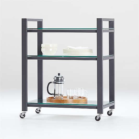 Pilsen Graphite Cart with Glass Shelves