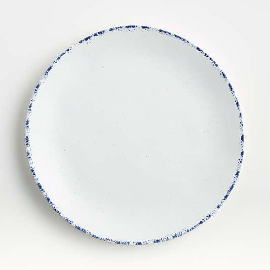 Pomona White Dinner Plate with Blue Rim