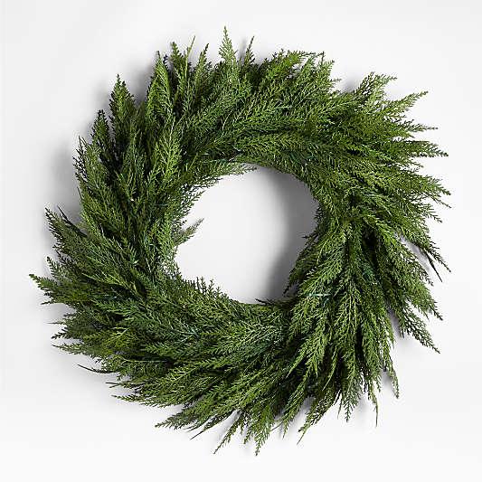 """Faux Hemlock Pine Pre-Lit LED Wreath 28"""""""
