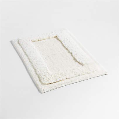 Raffee White Fluffy Cotton Bath Mat, White Fluffy Bathroom Rugs
