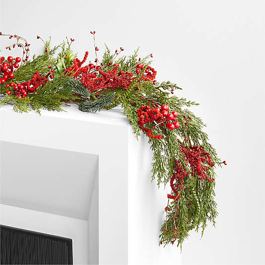 Faux Red Berry and Pine Garland 6'