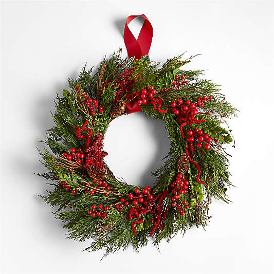 """Faux Red Berry and Pine Wreath 24"""""""