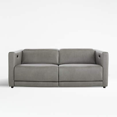 Russo Leather Power Reclining Sofa, Modern Recliner Sofa Leather