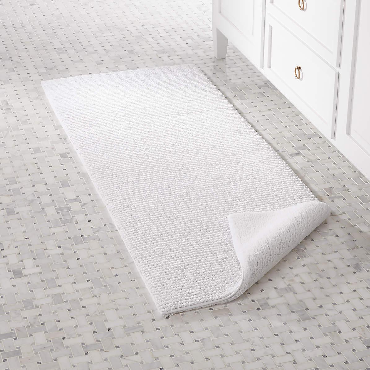 Rylan White Reversible Bath Rug 24 X60, Reversible Bathroom Rugs