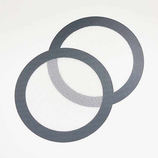 "Grey 9"" Round Silicone Baking Mats, Set of 2"