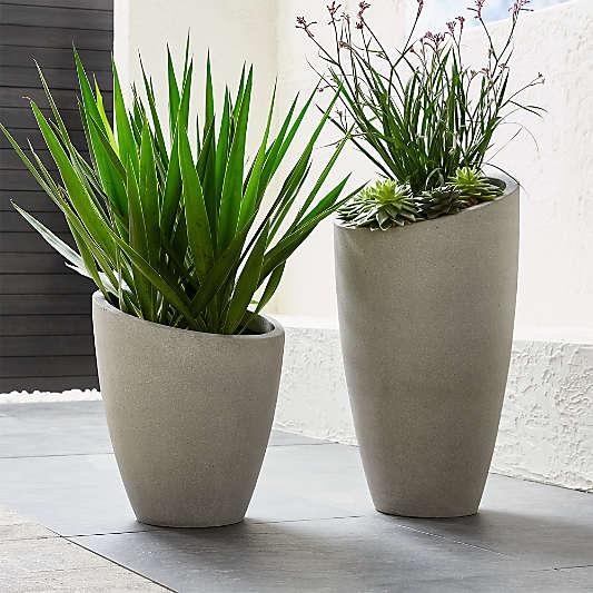 Slant Light Grey Indoor/Outdoor Planters