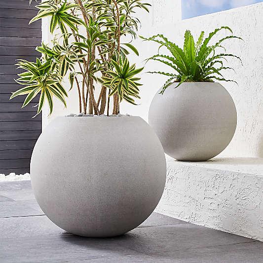 Sphere Light Gray Indoor/Outdoor Planters