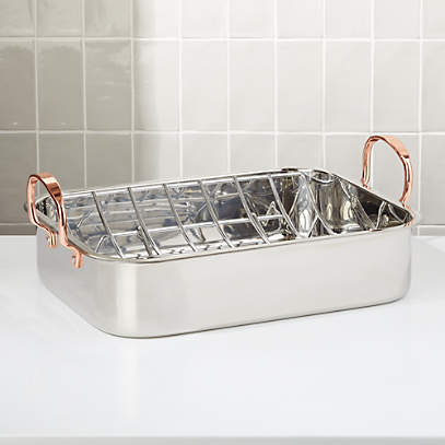 Stainless Steel 16 Roasting Pan With Copper Handles Reviews Crate And Barrel