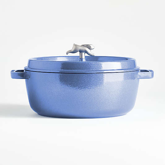 Staub ? 6-Qt. Metallic Blue Wide Round Cocotte with Rabbit Knob