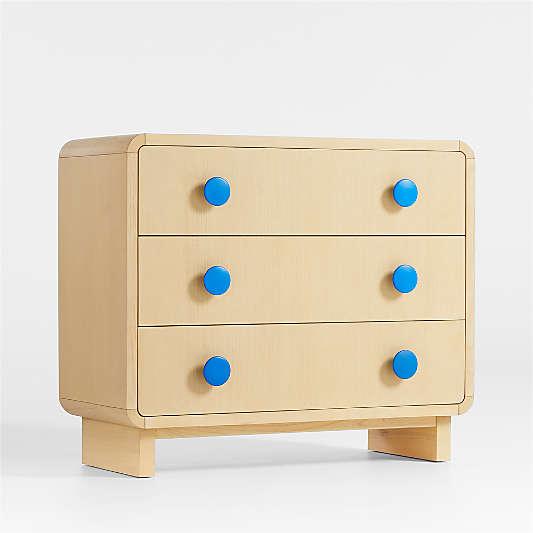 Steamer Lane 3-Drawer Natural Dresser + Blue Knobs