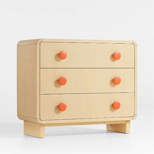 Steamer Lane 3-Drawer Natural Dresser + Orange Knobs