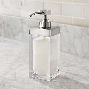 Clear Soap Dispensers Crate And Barrel, Bathroom Soap Dispensers