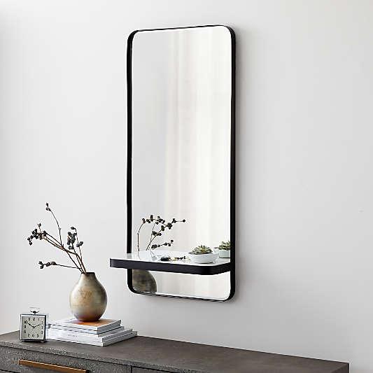 Sutton Gunmetal Mirror with Shelf