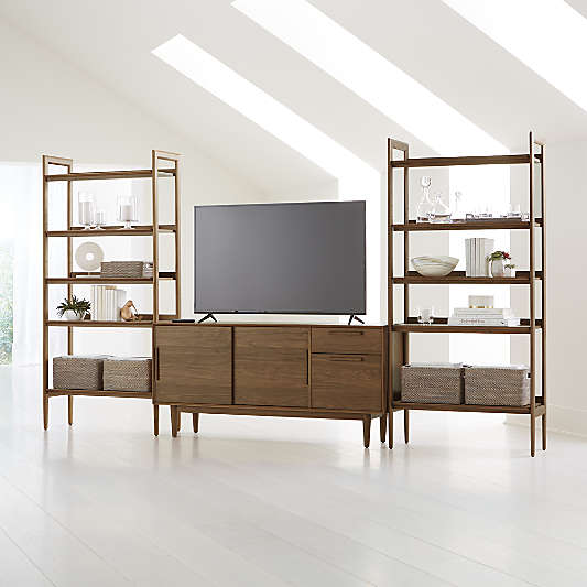 """Tate Walnut 64.5"""" Media Console with 2 Wide Bookcases"""