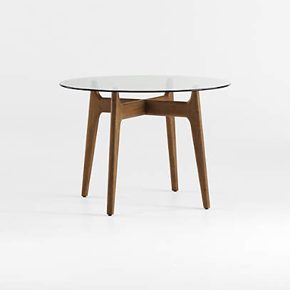 Tate 42 Round Dining Table With Glass, Round Table 42