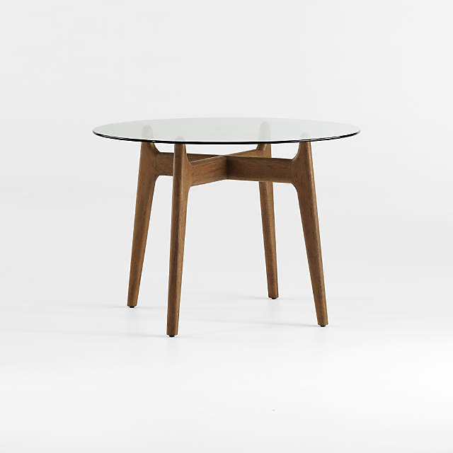 Tate Round Dining Table With Glass Top, Round Table Warm Springs