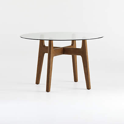 Tate 48 Round Dining Table With Glass, Glass Round Dining Table