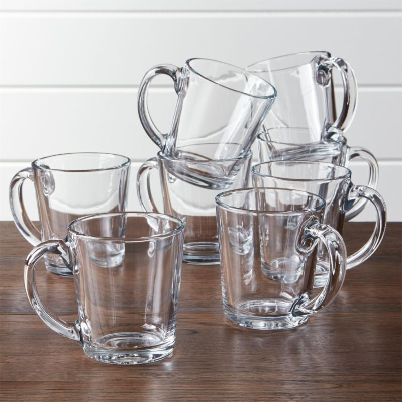 Moderno Clear Glass Coffee Mug Set Of 8 Reviews Crate And Barrel