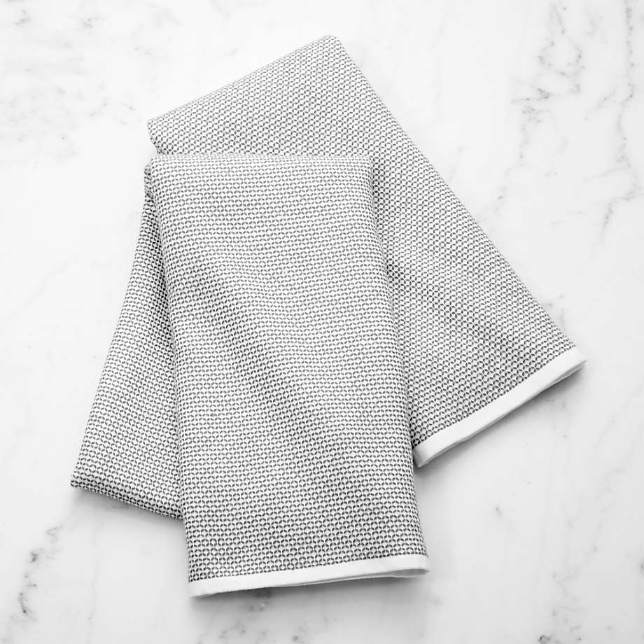 Grey Textured Terry Dish Towel, Set of 2 (Open Larger View)
