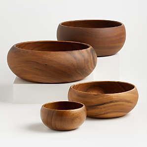 Large Wooden Textured Teak Serving Bowl Kitchen Home Decor
