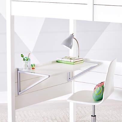 Kids Parke White Loft Bed Desk, Bed With Desk Attached