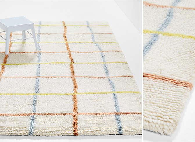 Warm Colored Grid Washable Wool Rug