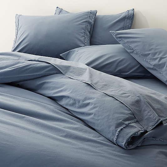 Organic Cotton Blue Duvet Covers and Pillow Shams