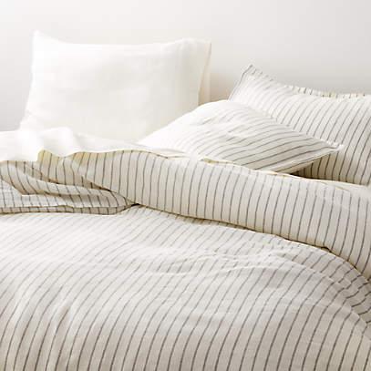 Pure Linen Wide Stripe Warm White Duvet, Pure Linen Bedding Canada