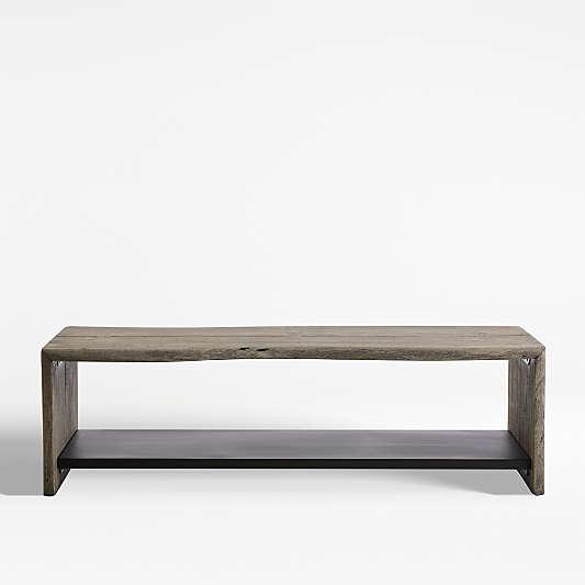 Yukon Grey Entryway Bench with Shelf
