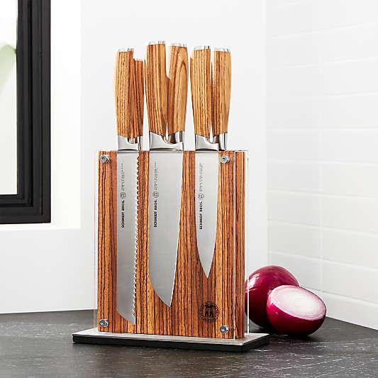 Schmidt Brothers ® 7-Piece Zebra Wood Knife Block Set